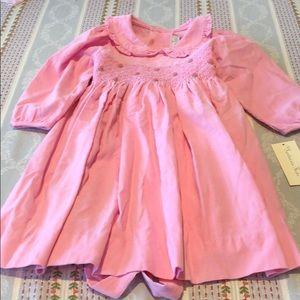 Fantaisie Kids Pink Corduroy Smocked Dress